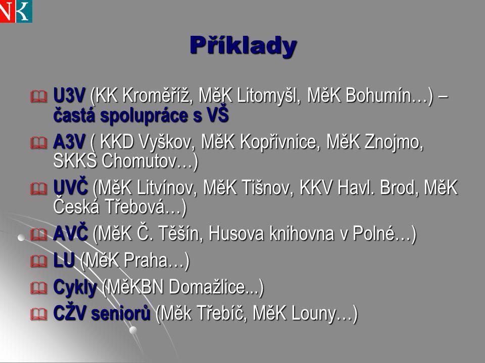 Příklady U3V (KK Kroměříž, MěK Litomyšl, MěK Bohumín…) – častá spolupráce s VŠ. A3V ( KKD Vyškov, MěK Kopřivnice, MěK Znojmo, SKKS Chomutov…)