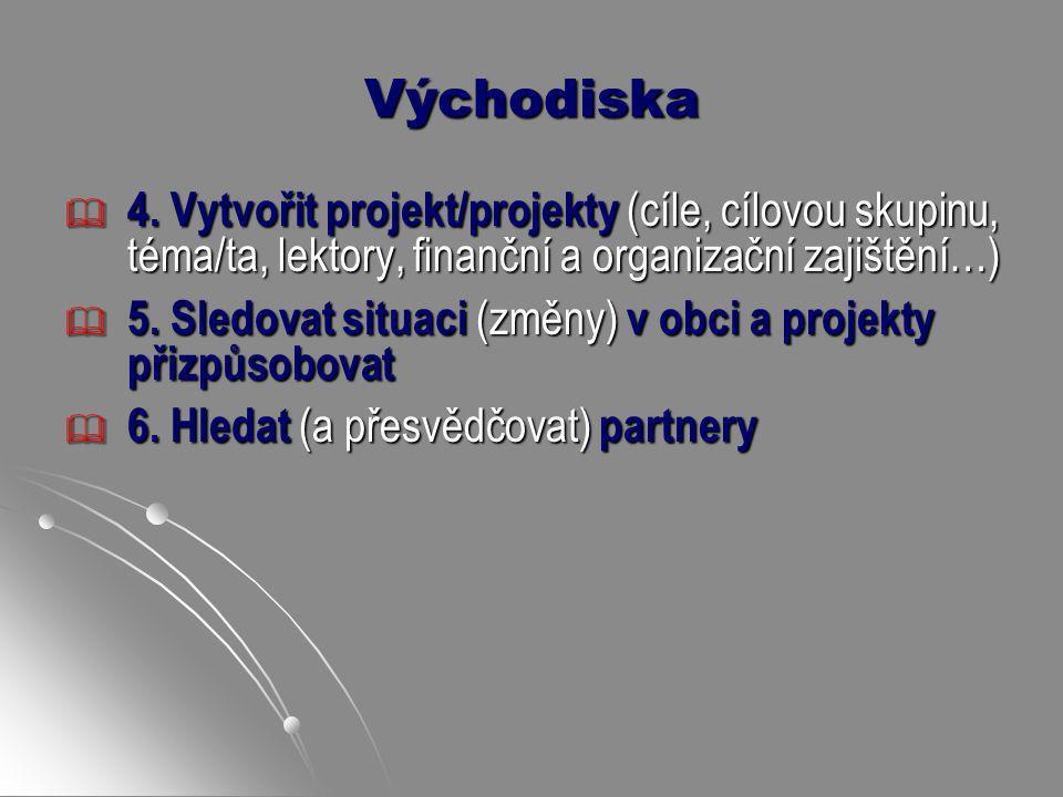 Východiska 4. Vytvořit projekt/projekty (cíle, cílovou skupinu, téma/ta, lektory, finanční a organizační zajištění…)