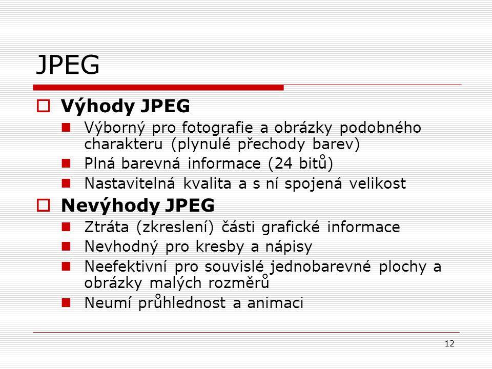 JPEG Výhody JPEG Nevýhody JPEG
