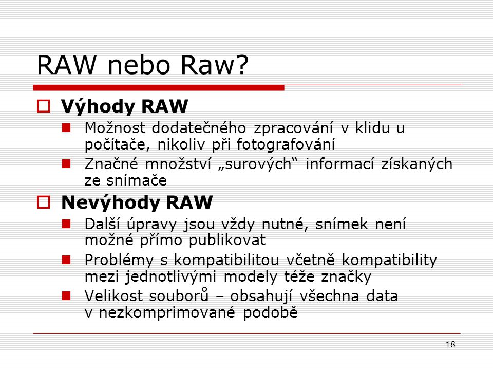 RAW nebo Raw Výhody RAW Nevýhody RAW