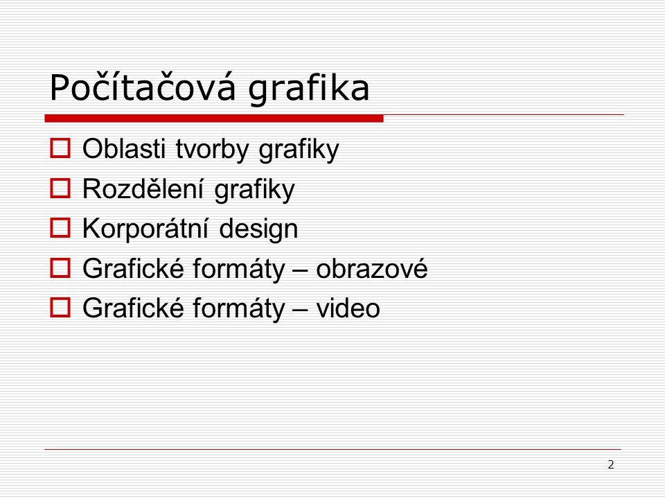 Počítačová grafika Oblasti tvorby grafiky Rozdělení grafiky