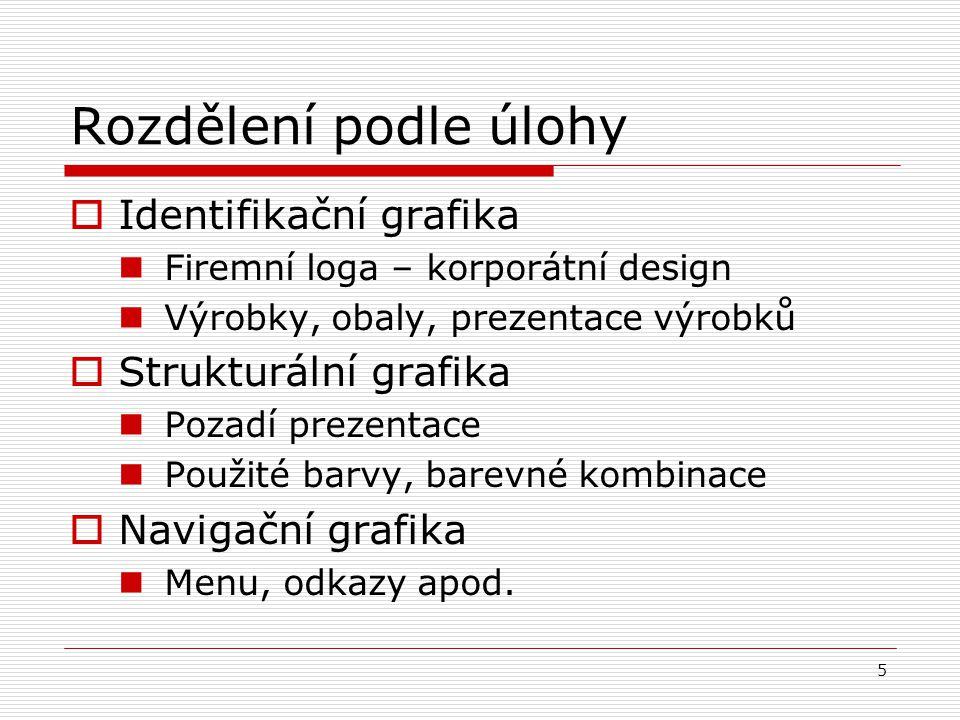 Rozdělení podle úlohy Identifikační grafika Strukturální grafika