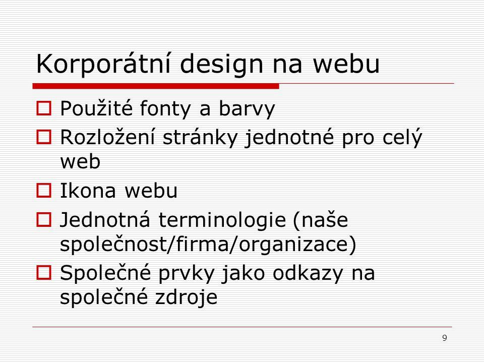 Korporátní design na webu