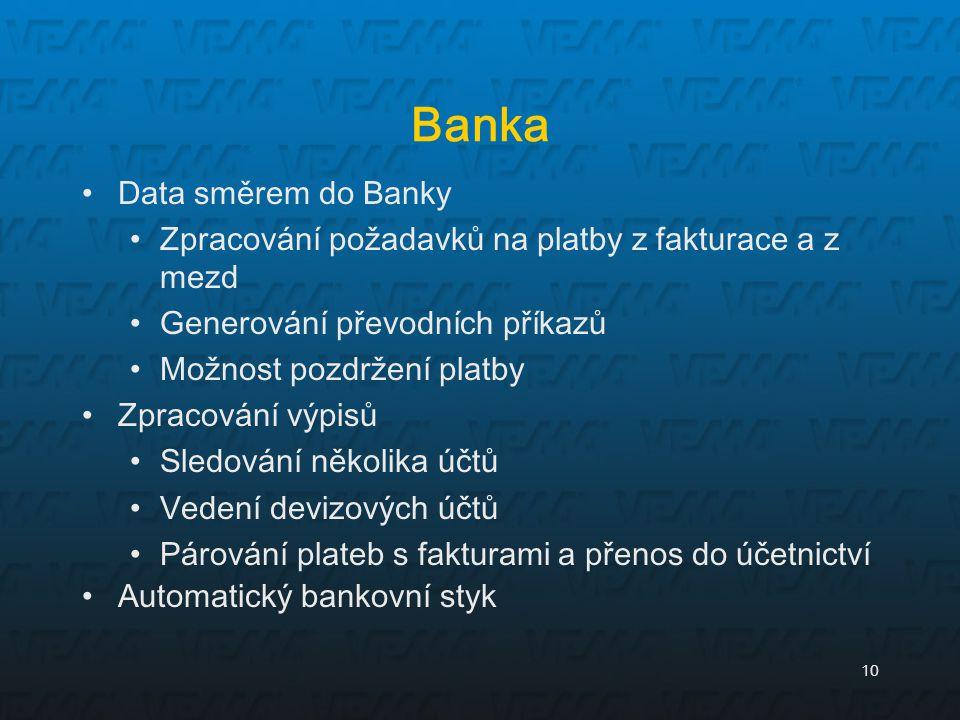 Banka Data směrem do Banky