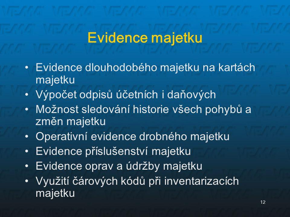 Evidence majetku Evidence dlouhodobého majetku na kartách majetku