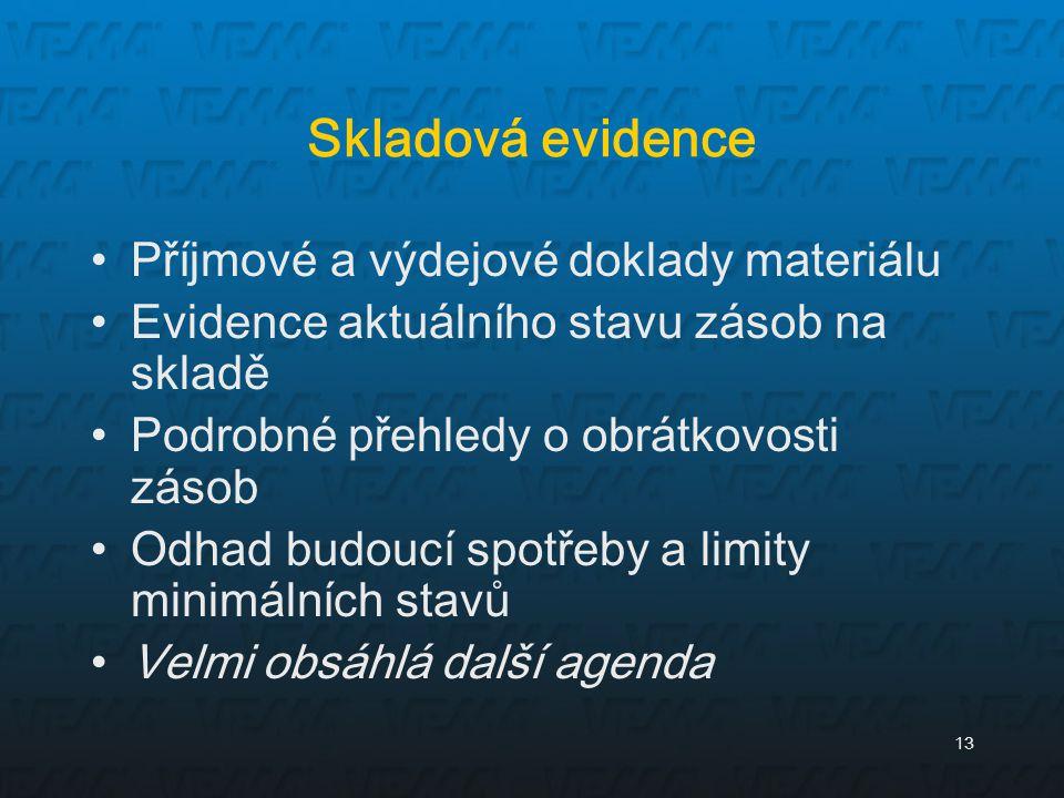 Skladová evidence Příjmové a výdejové doklady materiálu