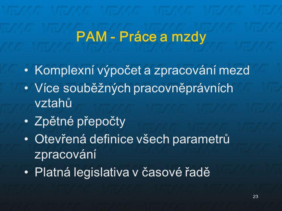 PAM - Práce a mzdy Komplexní výpočet a zpracování mezd