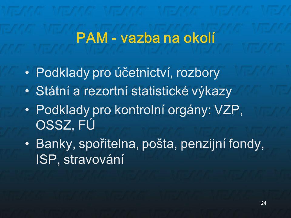 PAM - vazba na okolí Podklady pro účetnictví, rozbory