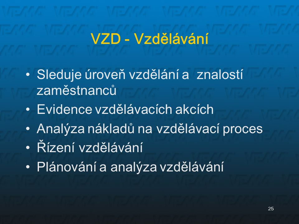 VZD - Vzdělávání Sleduje úroveň vzdělání a znalostí zaměstnanců