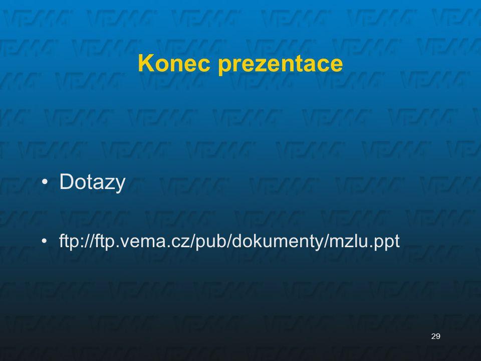 Konec prezentace Dotazy ftp://ftp.vema.cz/pub/dokumenty/mzlu.ppt