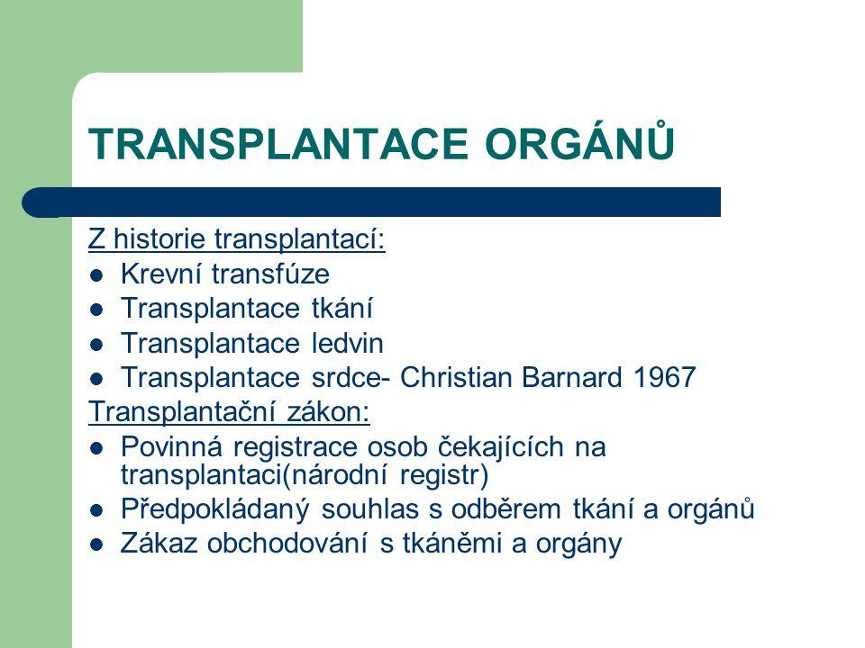 TRANSPLANTACE ORGÁNŮ Z historie transplantací: Krevní transfúze