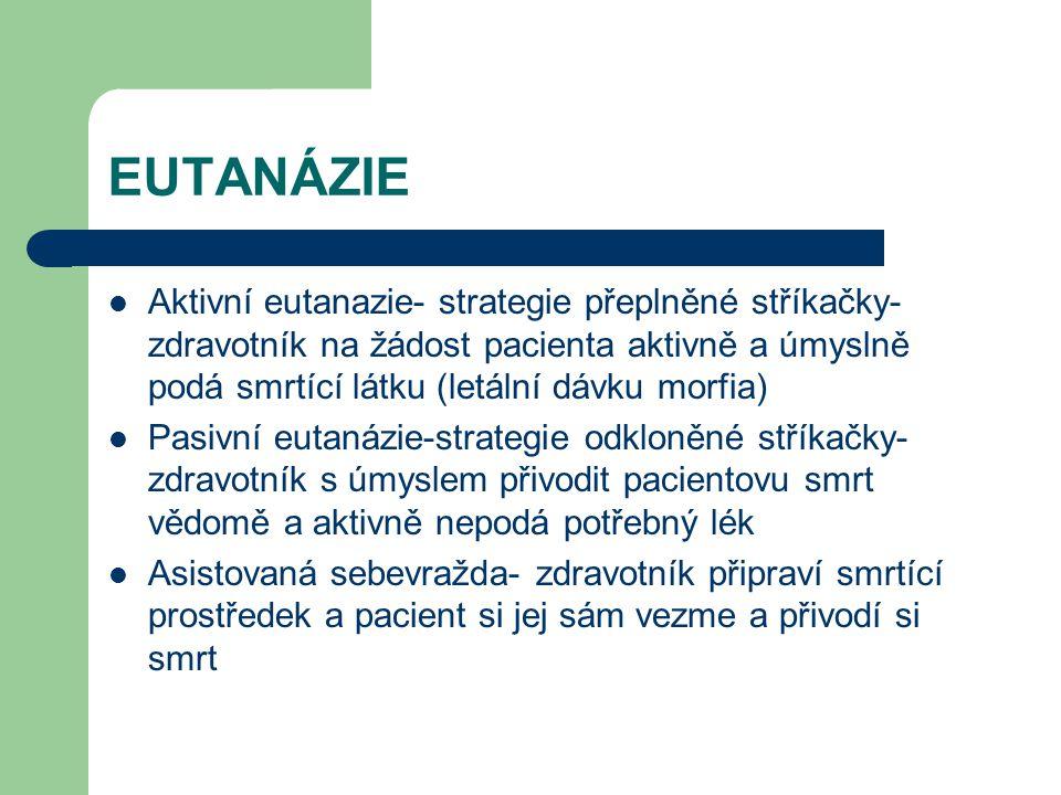 EUTANÁZIE Aktivní eutanazie- strategie přeplněné stříkačky-zdravotník na žádost pacienta aktivně a úmyslně podá smrtící látku (letální dávku morfia)