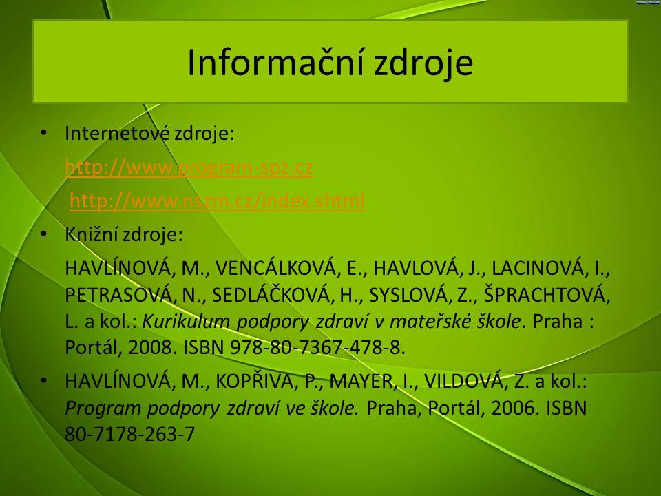 Informační zdroje Internetové zdroje: http://www.program-spz.cz