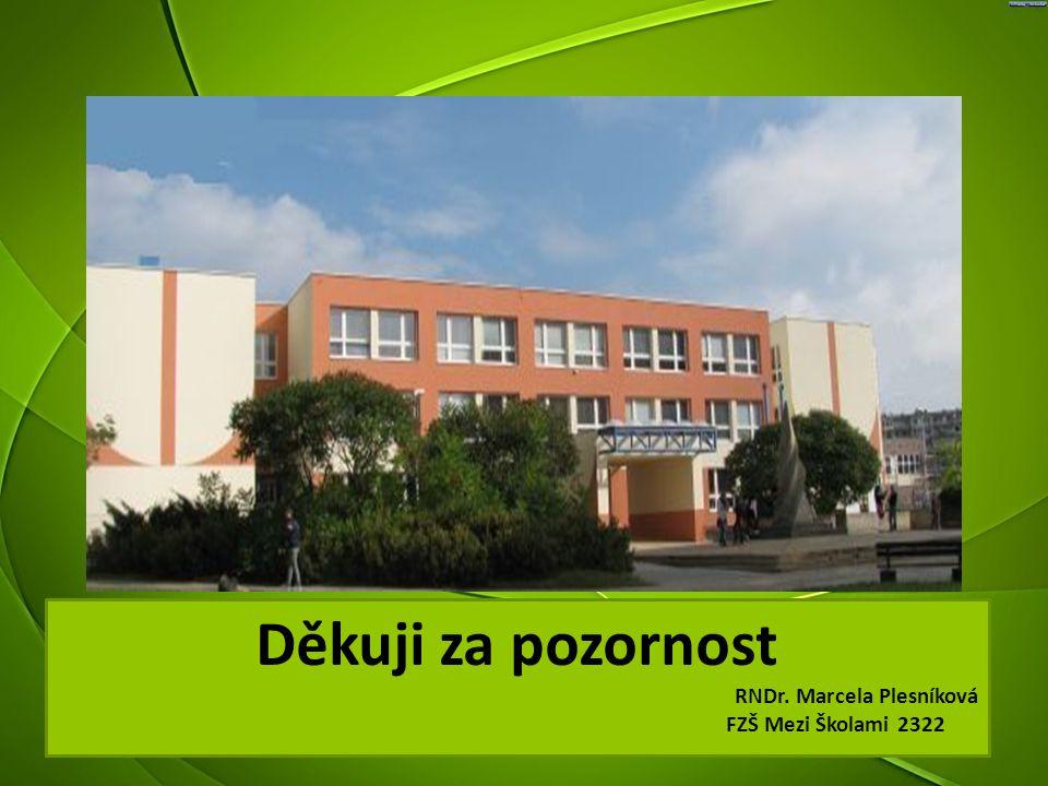 Děkuji za pozornost RNDr. Marcela Plesníková FZŠ Mezi Školami 2322