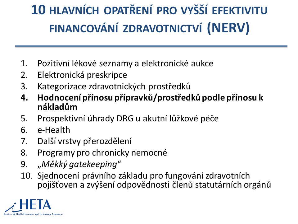 10 hlavních opatření pro vyšší efektivitu financování zdravotnictví (NERV)