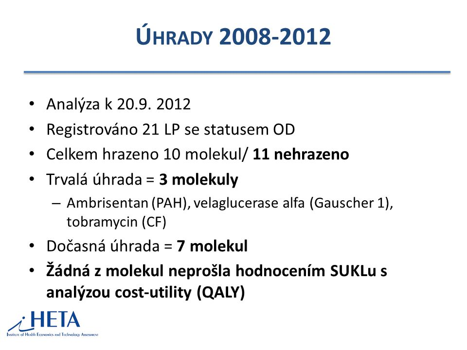Úhrady 2008-2012 Analýza k 20.9. 2012. Registrováno 21 LP se statusem OD. Celkem hrazeno 10 molekul/ 11 nehrazeno.