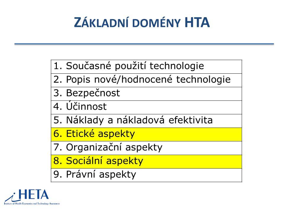 Základní domény HTA 1. Současné použití technologie