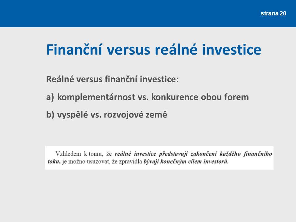 Finanční versus reálné investice