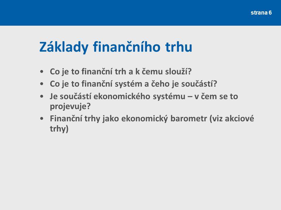 Základy finančního trhu