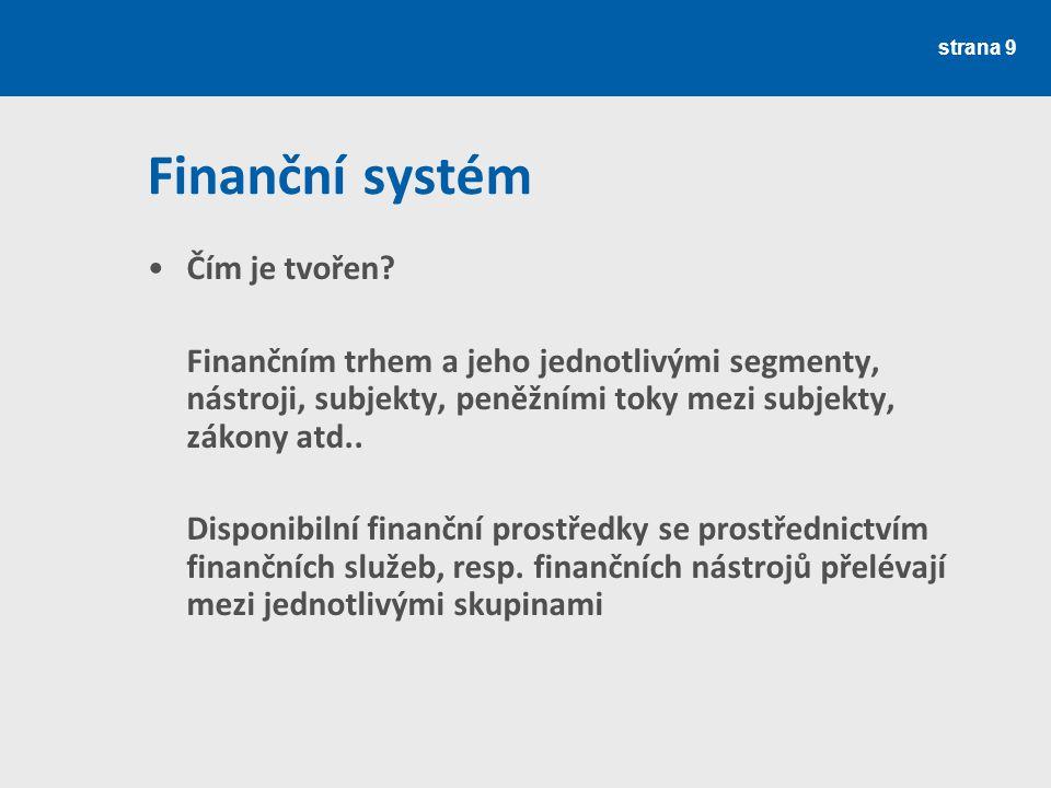 Finanční systém Čím je tvořen