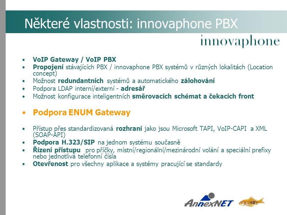 Některé vlastnosti: innovaphone PBX