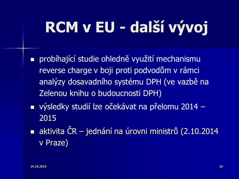 RCM v EU - další vývoj