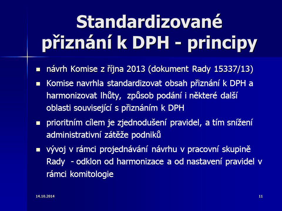 Standardizované přiznání k DPH - principy