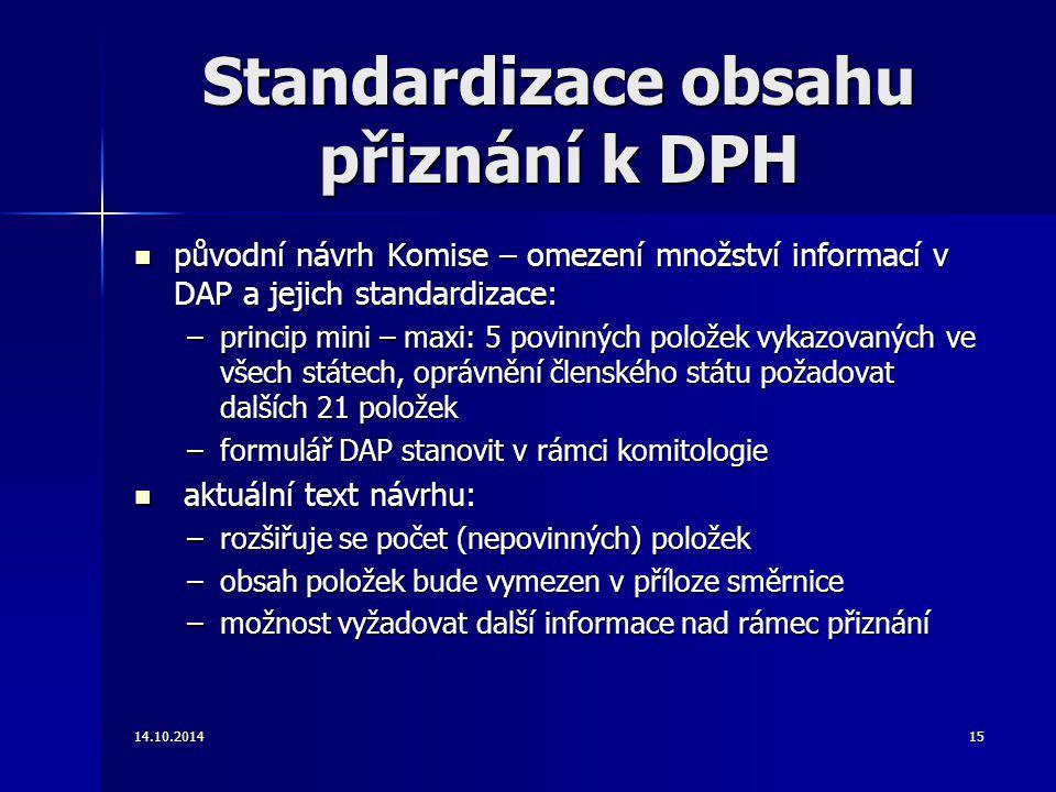 Standardizace obsahu přiznání k DPH