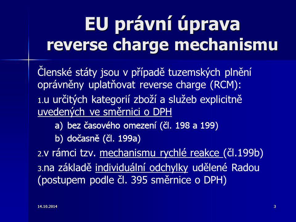 EU právní úprava reverse charge mechanismu
