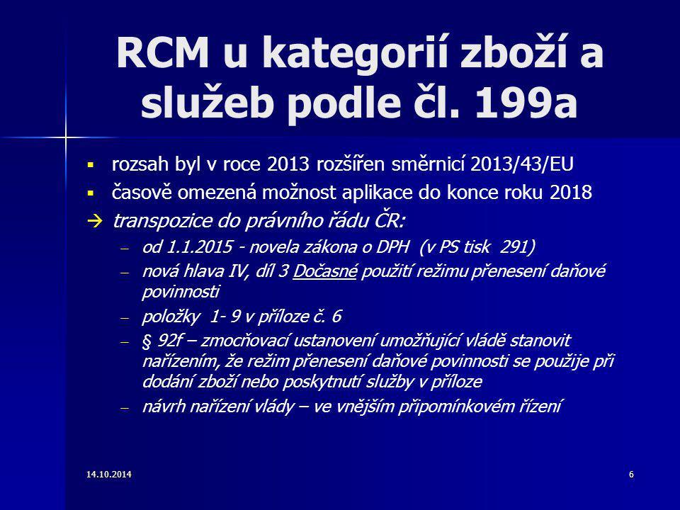 RCM u kategorií zboží a služeb podle čl. 199a
