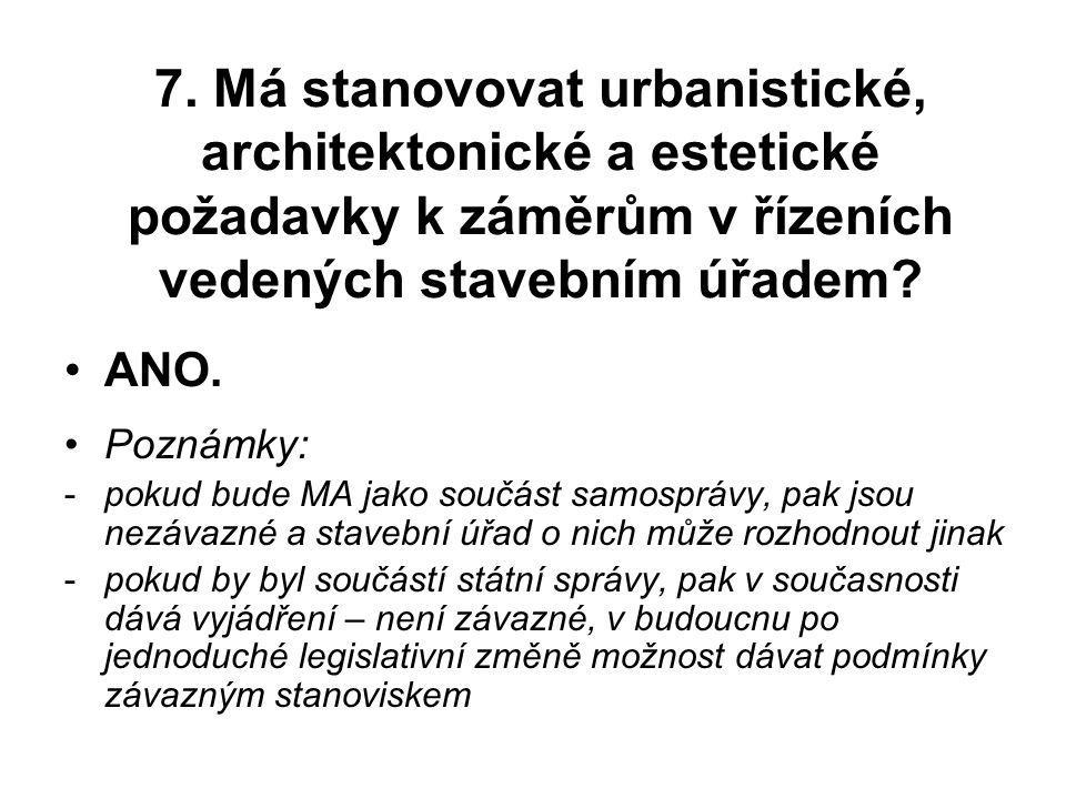 7. Má stanovovat urbanistické, architektonické a estetické požadavky k záměrům v řízeních vedených stavebním úřadem
