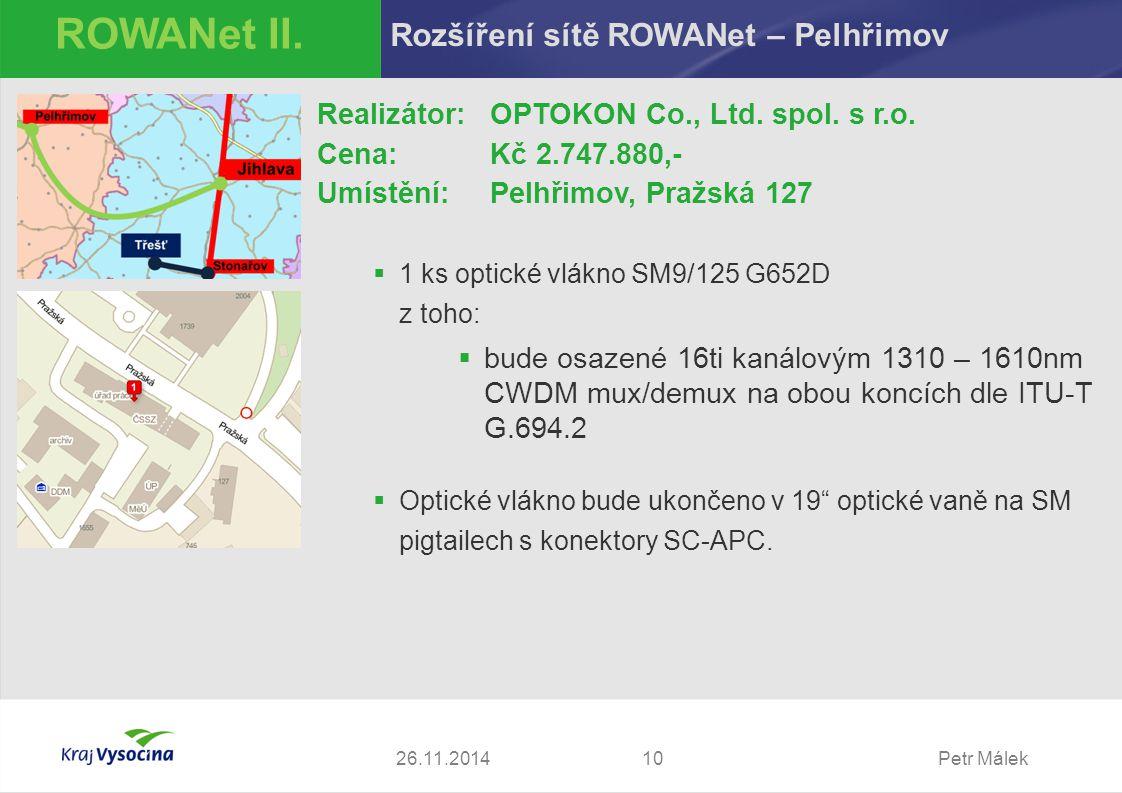 ROWANet II. Rozšíření sítě ROWANet – Pelhřimov