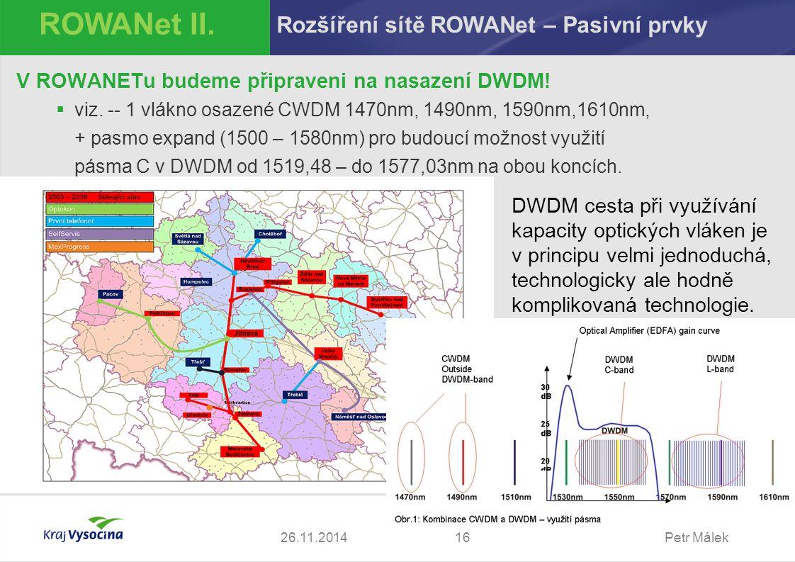 ROWANet II. Rozšíření sítě ROWANet – Pasivní prvky