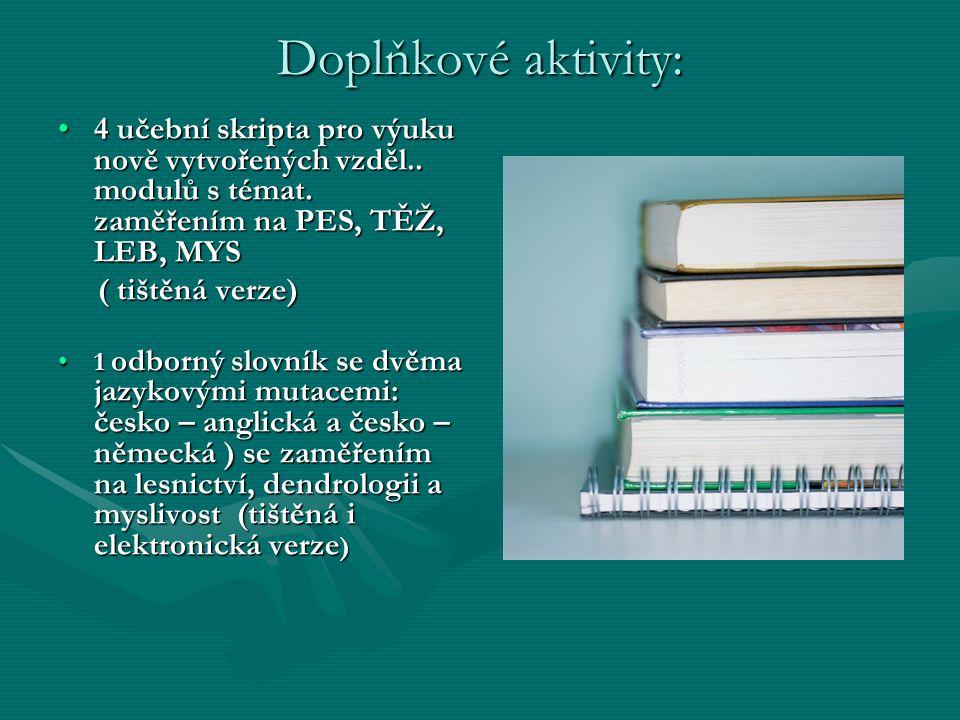 Doplňkové aktivity: 4 učební skripta pro výuku nově vytvořených vzděl.. modulů s témat. zaměřením na PES, TĚŽ, LEB, MYS.