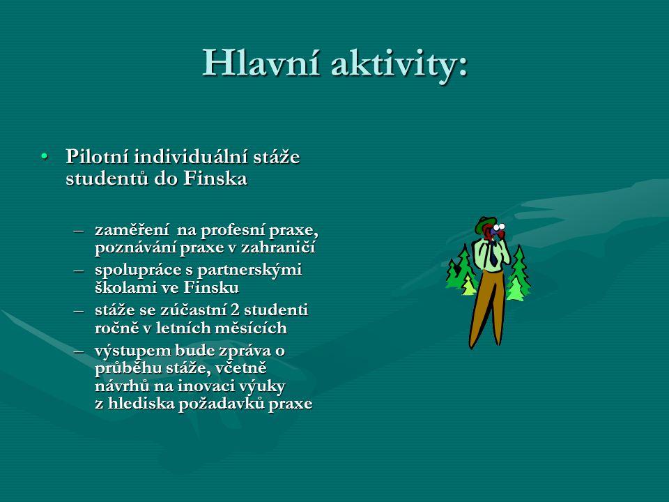 Hlavní aktivity: Pilotní individuální stáže studentů do Finska