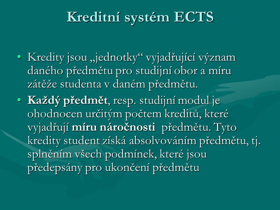 """Kreditní systém ECTS Kredity jsou """"jednotky vyjadřující význam daného předmětu pro studijní obor a míru zátěže studenta v daném předmětu."""