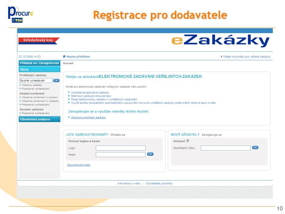 Registrace pro dodavatele