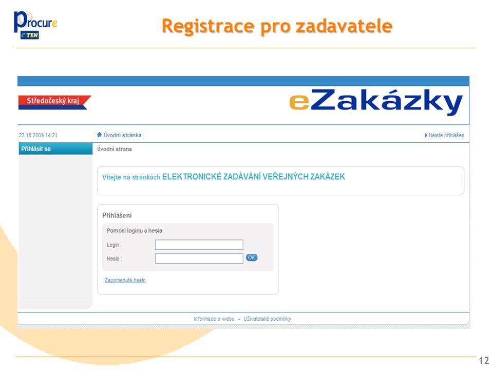 Registrace pro zadavatele