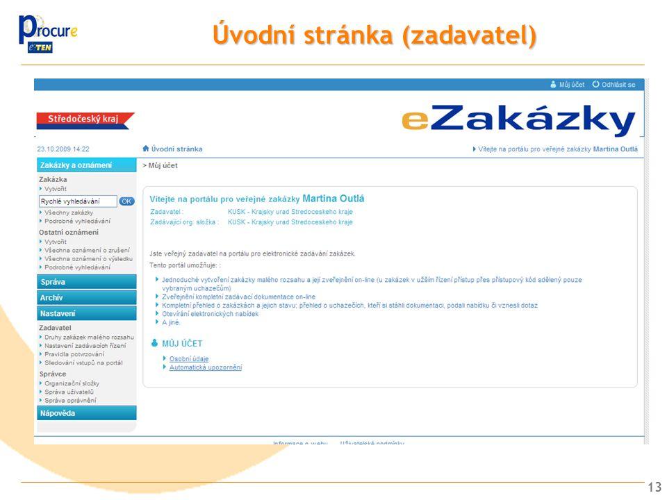 Úvodní stránka (zadavatel)