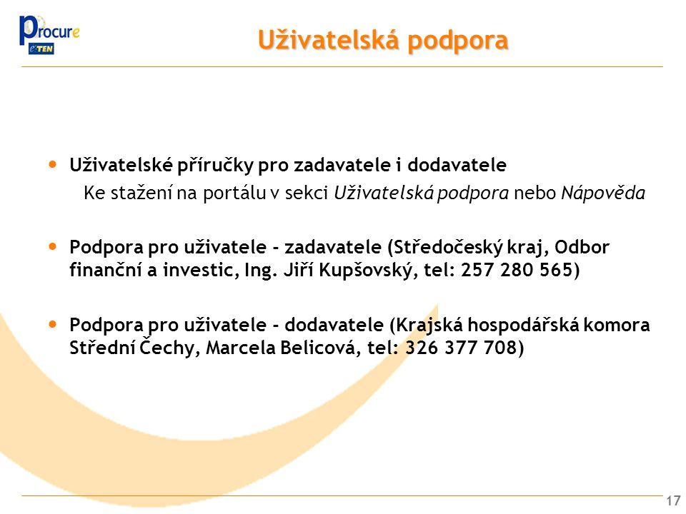 Uživatelská podpora Uživatelské příručky pro zadavatele i dodavatele
