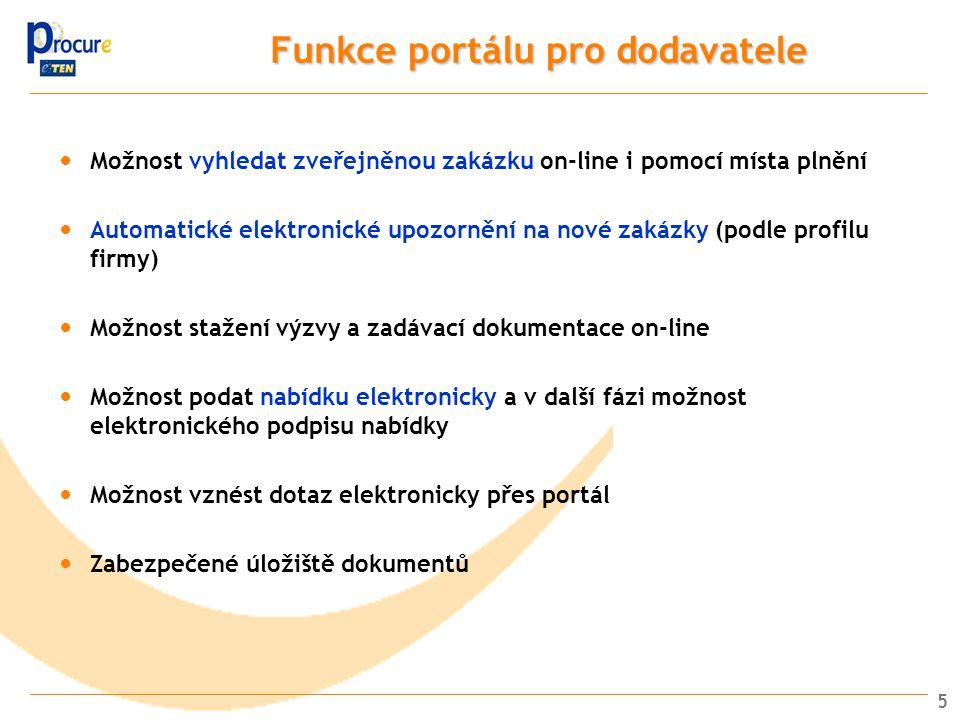 Funkce portálu pro dodavatele