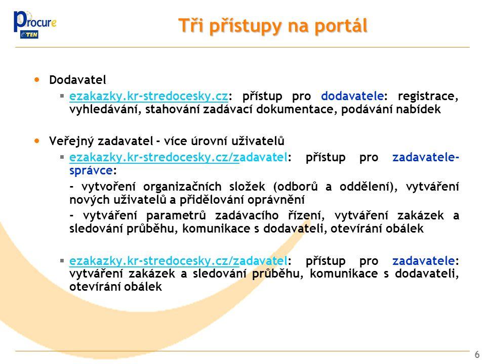 Tři přístupy na portál Dodavatel