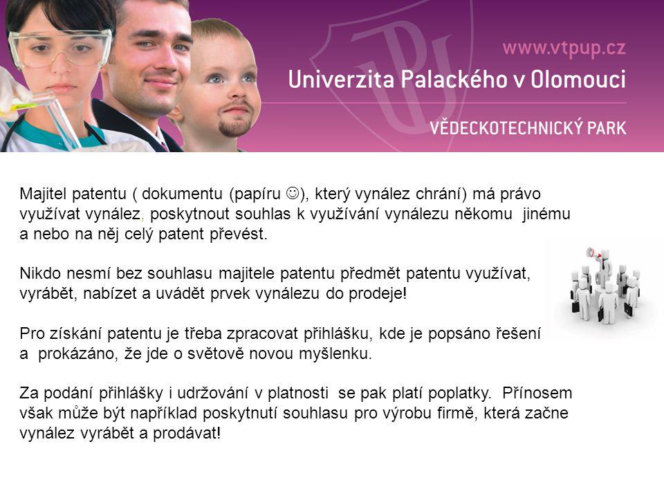 Majitel patentu ( dokumentu (papíru ), který vynález chrání) má právo využívat vynález, poskytnout souhlas k využívání vynálezu někomu jinému a nebo na něj celý patent převést.