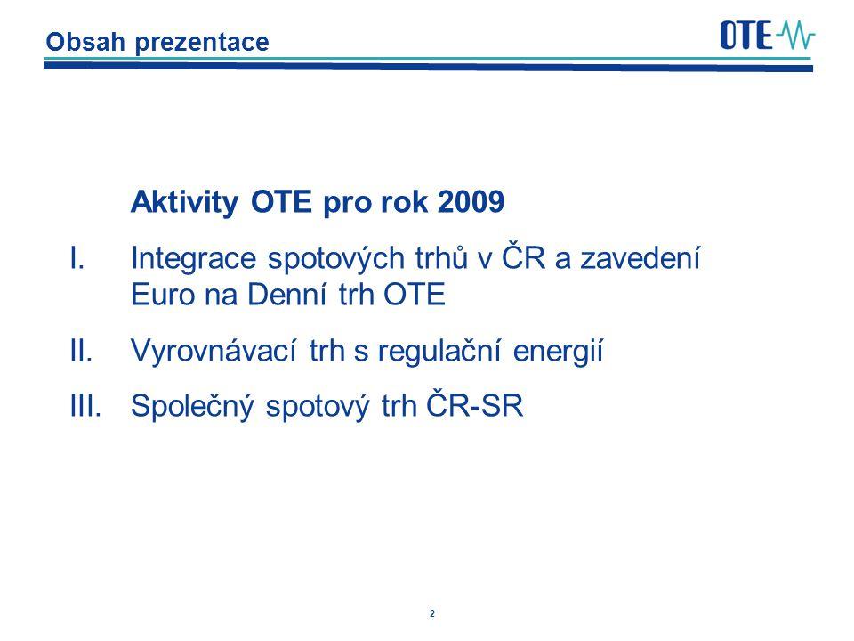 Integrace spotových trhů v ČR a zavedení Euro na Denní trh OTE