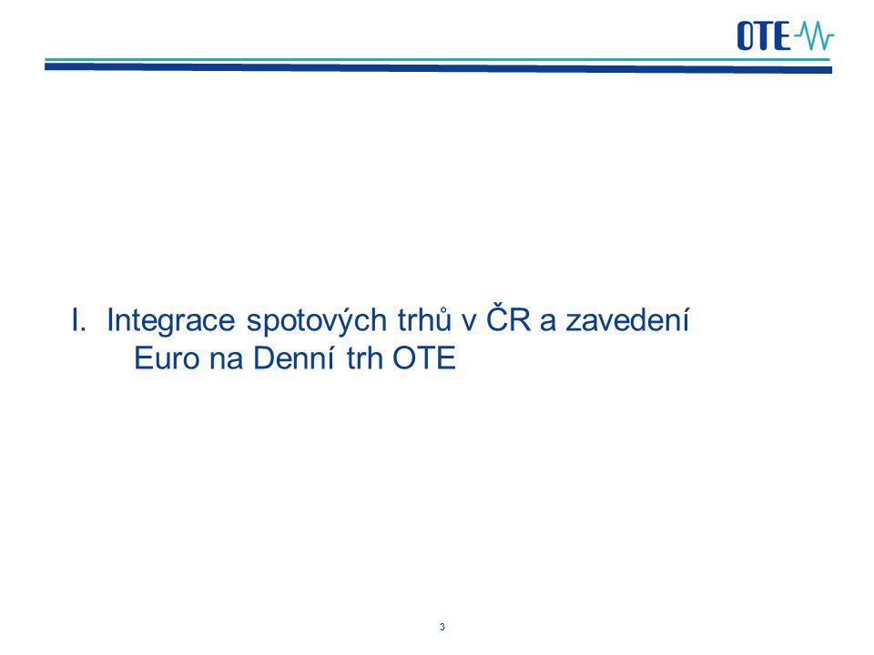 I. Integrace spotových trhů v ČR a zavedení Euro na Denní trh OTE