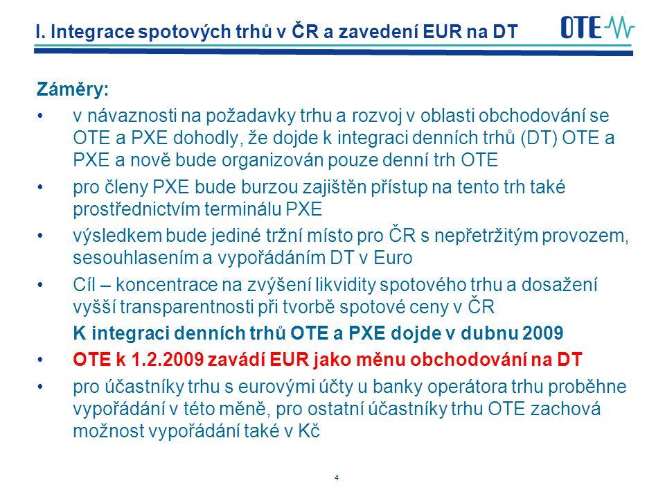 I. Integrace spotových trhů v ČR a zavedení EUR na DT