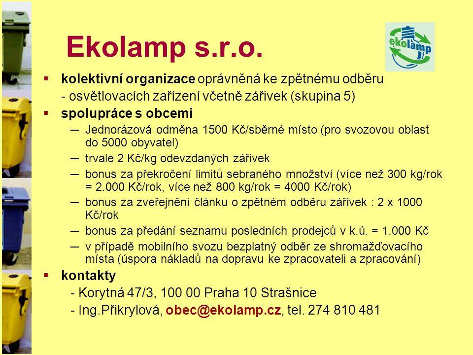 Ekolamp s.r.o. kolektivní organizace oprávněná ke zpětnému odběru