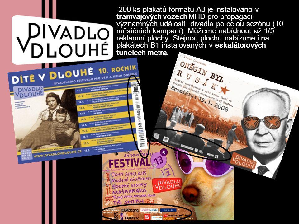 200 ks plakátů formátu A3 je instalováno v tramvajových vozech MHD pro propagaci významných událostí divadla po celou sezónu (10 měsíčních kampaní).