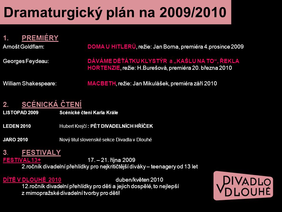Dramaturgický plán na 2009/2010