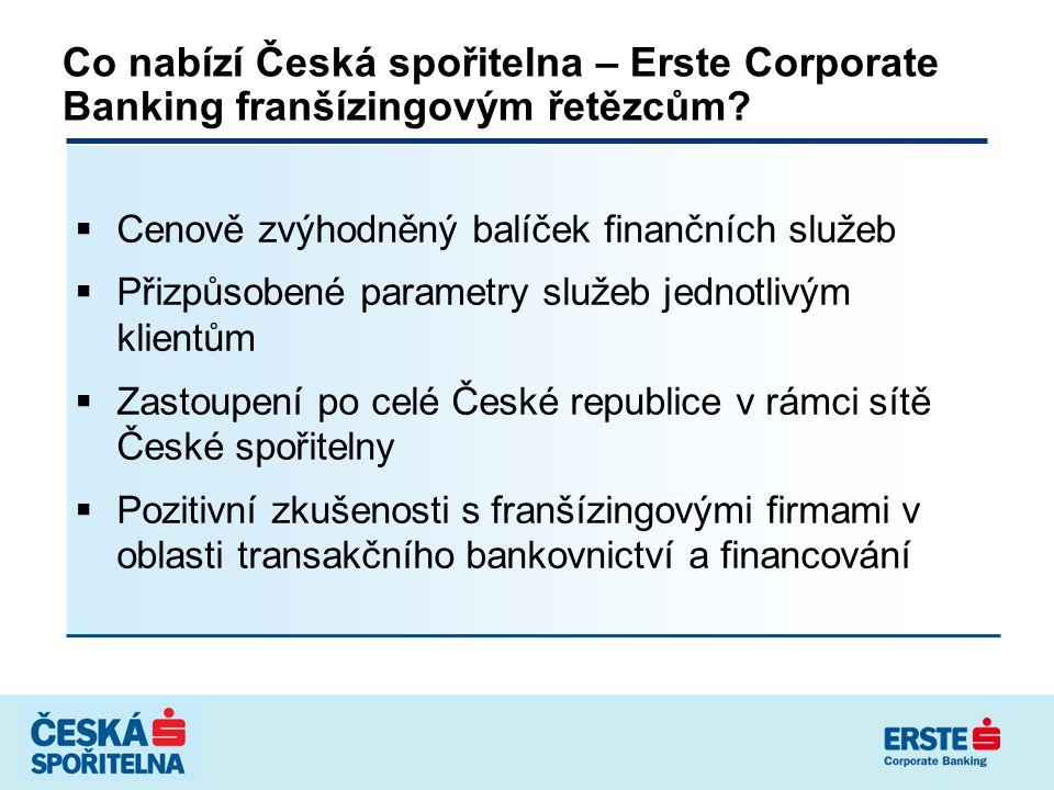 Co nabízí Česká spořitelna – Erste Corporate Banking franšízingovým řetězcům